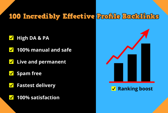 100 incredibly effective top quality profile backlinks on world's highest authority websites