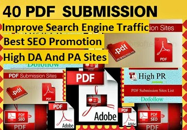I will do pdf submission to top 40 pdf sharing sites with 10 high quality backlinks