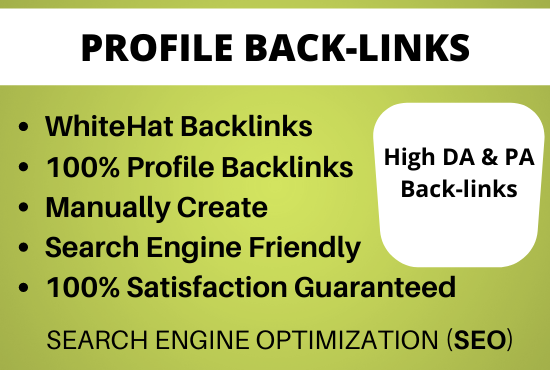 Provide 50 High Authority Profile Backlinks Manually
