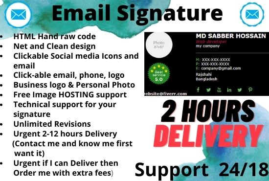 I will design professional eye catching clickable HTML email signature