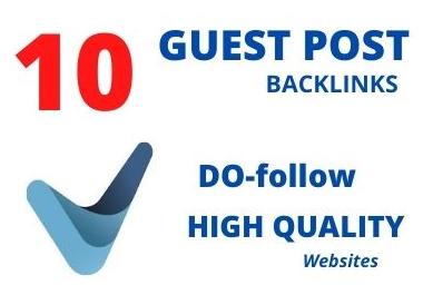 publish 10 guest post seo backlinks on high DA website