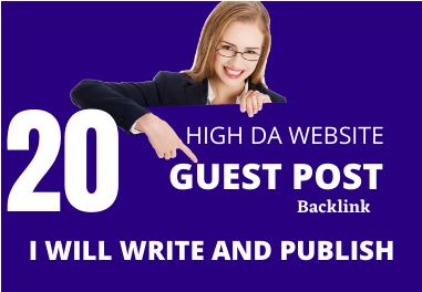 Write and publish 20 HQ Dofolloe guest post SEO backlinks