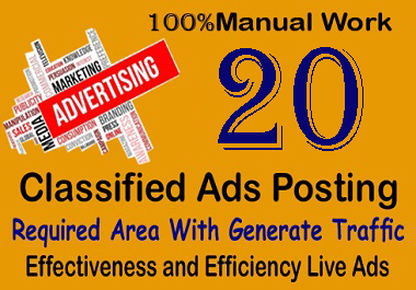 20 Manual Classified Ads Posting In High Authority Country Sites