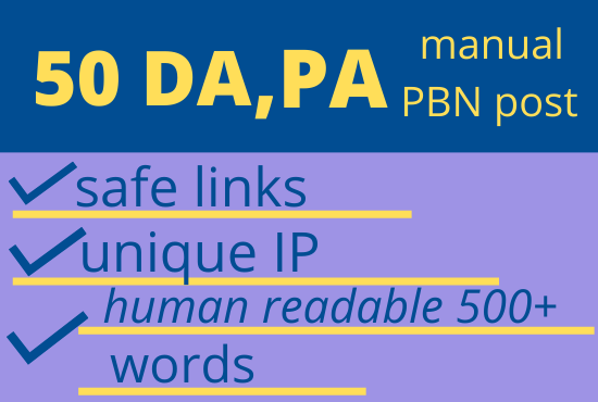 5 PBNS.50 DA high authority safe links. 7 days delivery.