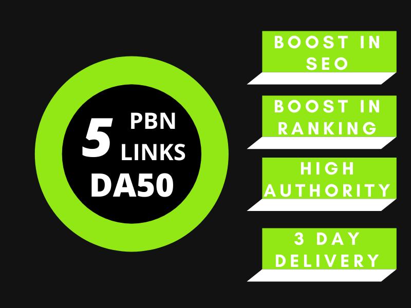 Build 5PBNs DA50 high authority Dofollow backlinks