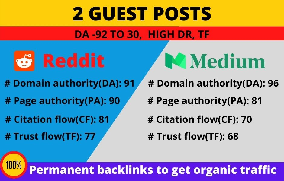 Publish +2 guest posts in high DA site to promote your website + business