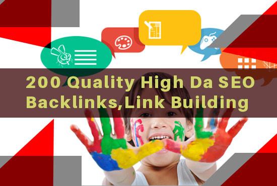 I will do 200 quality high da seo backlinks,  link building