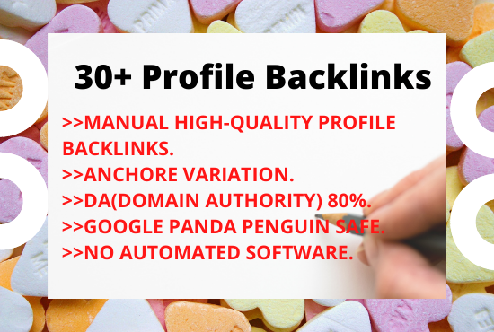 I will manually make 30 High Authority Profile Backlinks For Website SEO