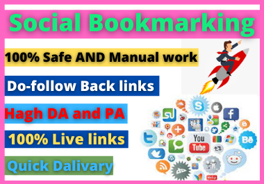I will provide Manually top 25+ social bookmarking on 85+ da and 75+pa backlinks service