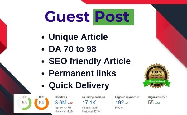 Write and Publish High Quality Guest post on DA 80+ site - Dofollow link