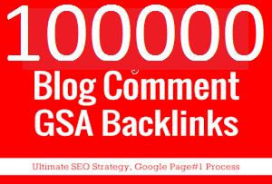 I'll create 100K GSA blog comment backlinks for your website for google ranking