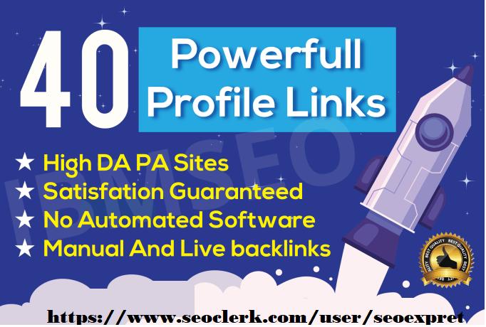 Do 40 Profile Backlinks Manual SEO Service