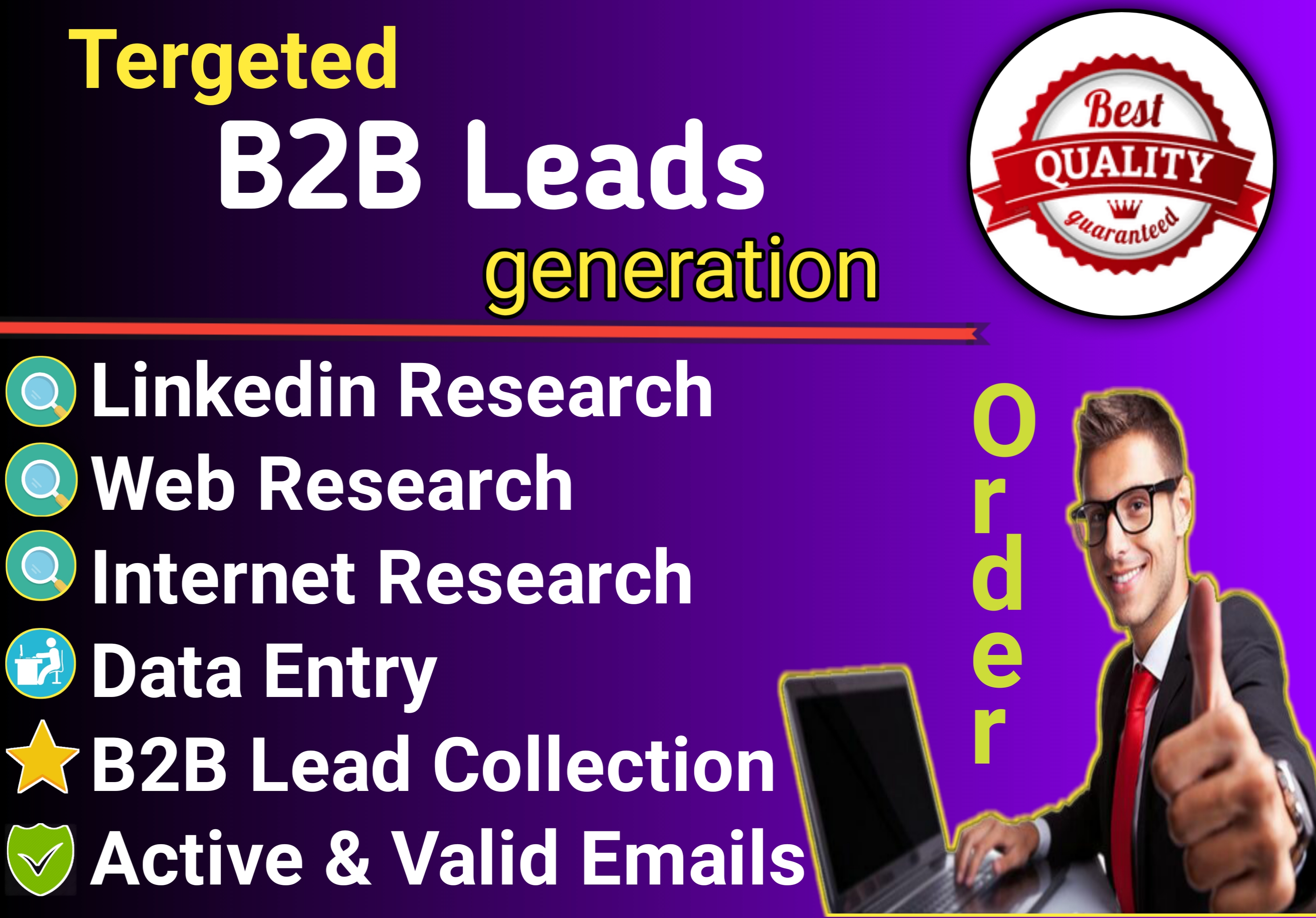 I will provide high-quality b2b lead generation for your Targeted Niche