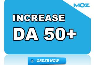 I will increase moz domain authority da 50 plus.