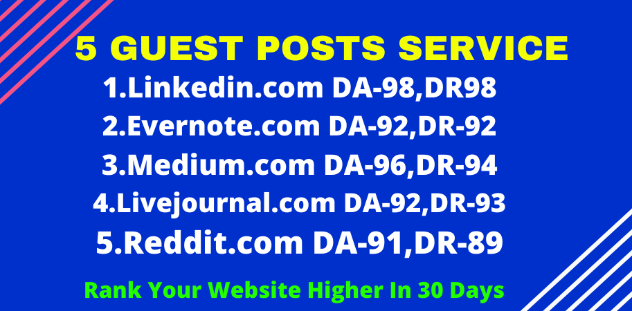 write & publish 5 guest posts high da-90+ off page seo linkbuilding for google rankings