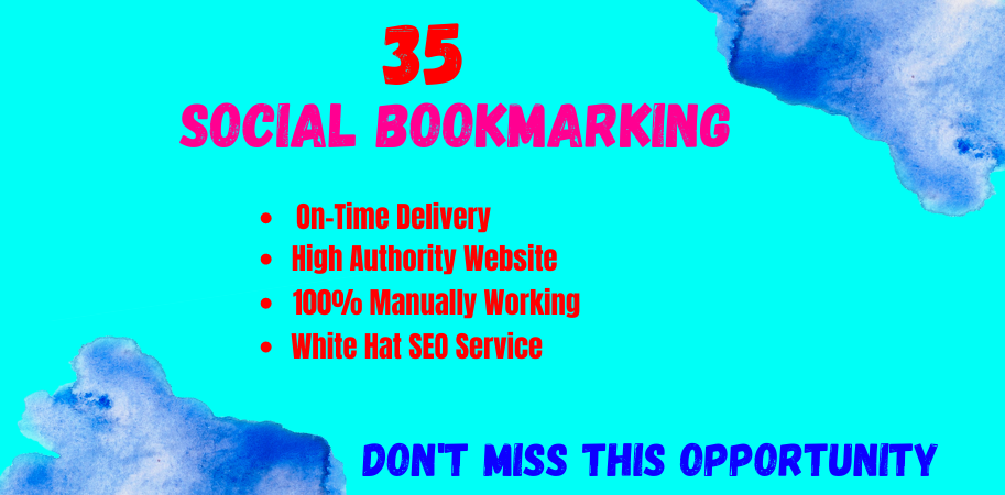 I wiil provide 35 high quality social bookmarking for increase your website ranking