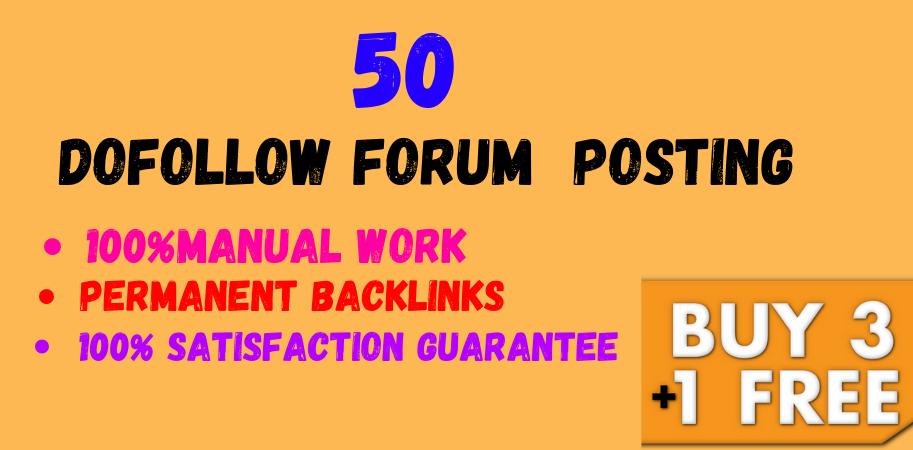 50 Forum Posting High Quality DA & PA SEO Permanent Backlinks Google Index Guarantee