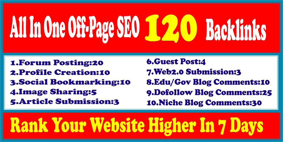 I will make Off-Page SEO Package Boost Your Site On Top SEO Service 120 Backlinks