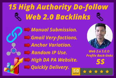 I will Do High Authority 15 Do-follow Web 2.0 Manually Backlinks