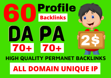 I will build your website link 60 Dofollow Profile Backlinks Or Social Profiles