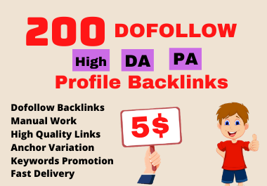I will create 200 High DA PA Profile Backlinks manually