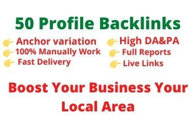 Manually create 50 High authority SEO profile backlinks