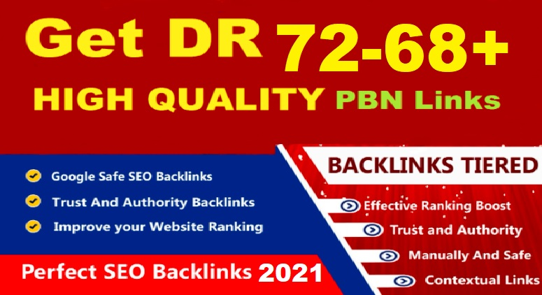 Creat 4 high quality DR 72 to 68+ Dofollow Homepage PBN backlinks