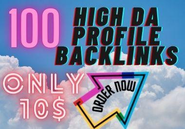 I will create 100 High Da dofollow profile backlinks da up to 50 plus