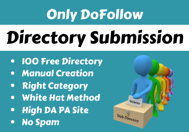 Manually Created 100 Free Directory Submission Backlinks To Rank Up Website