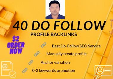 I will Manually create 40 dofollow profile backlinks -2021
