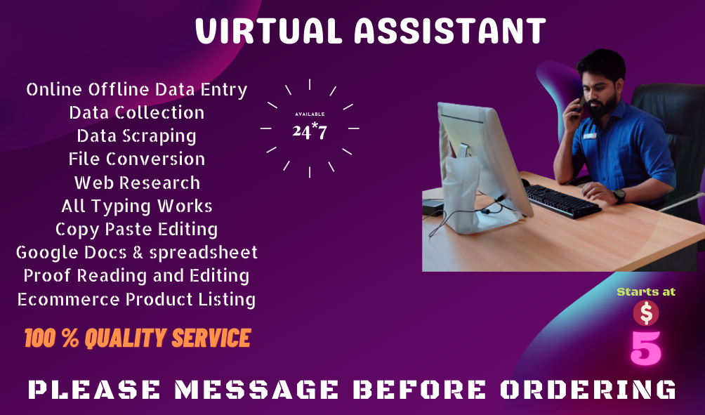 I will do Data Entry,  copy paste and excel data entry, Proof reading and editing work for you