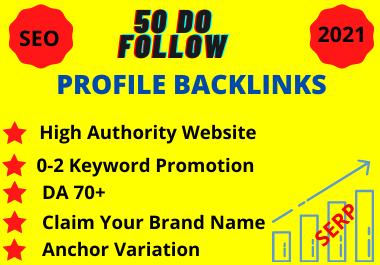 50 High Quality,  PR 8+,  DA 80+,  Do follow Social Profile Backlinks