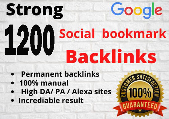 I will create 1200 social bookmark backlink manually