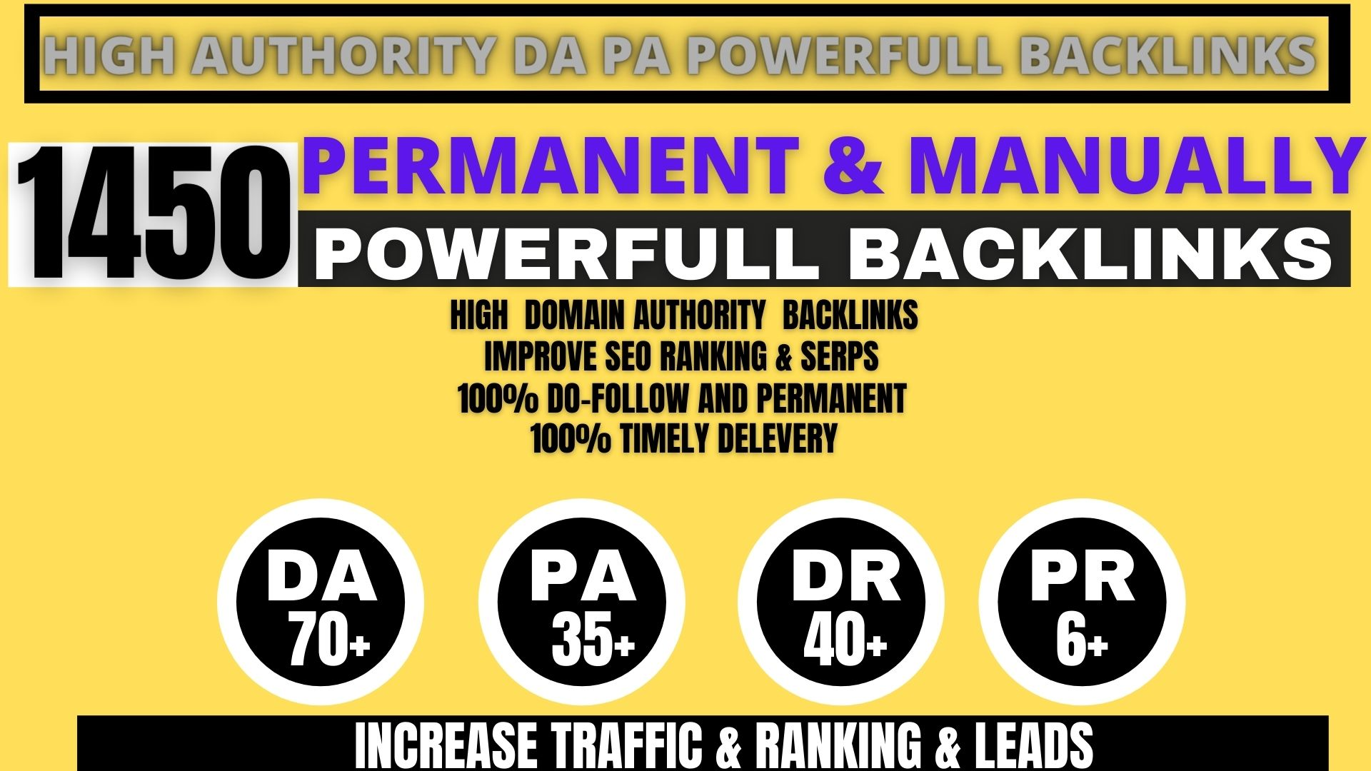 Build 1450+ Backlink,  web 2.0 and Dofollow with high DA/PA in your webpage with unique website