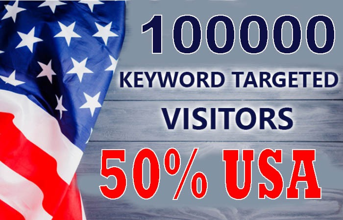 100,000 real keyword targeted USA website traffic