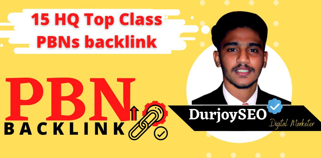 15 HQ Top Class PBNs backlink DA 20 to 75+