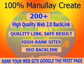 Get 200+ High DA Web2.0 Backlinks Manually Submission