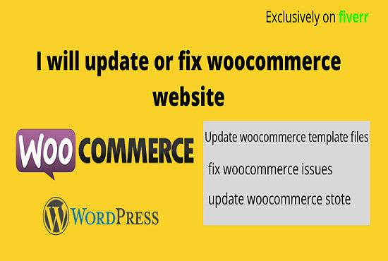 I will update or fix woocommerce website