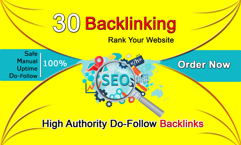 Manually provide 30 SEO high dadofollow white hat backlinks