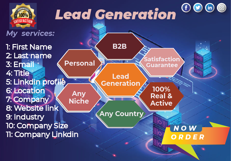 I will provide 100+ lead generation for your targeted business.