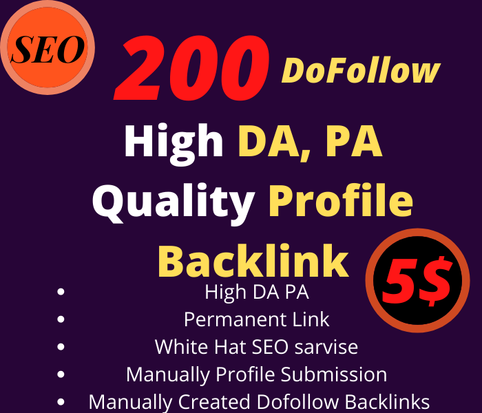 I'll build 200 DF Profile backlinks in High DA/PA