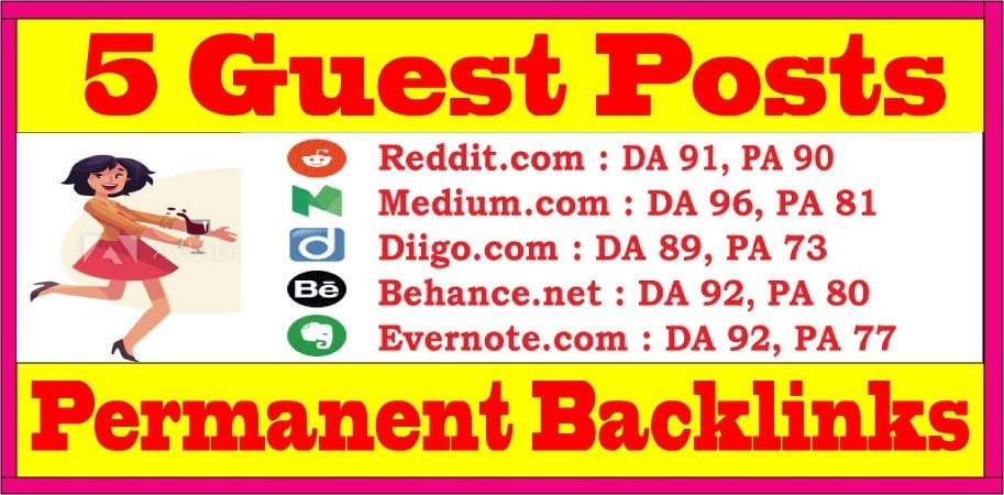 Write & Publish 5 Guest Blog Posts DA89+ Websites Permanent SEO Backlinks