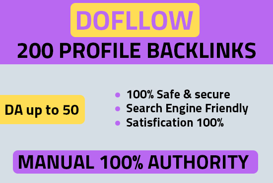 I will do 100 DOFOLLOW high DA PA profile backlinks for your website