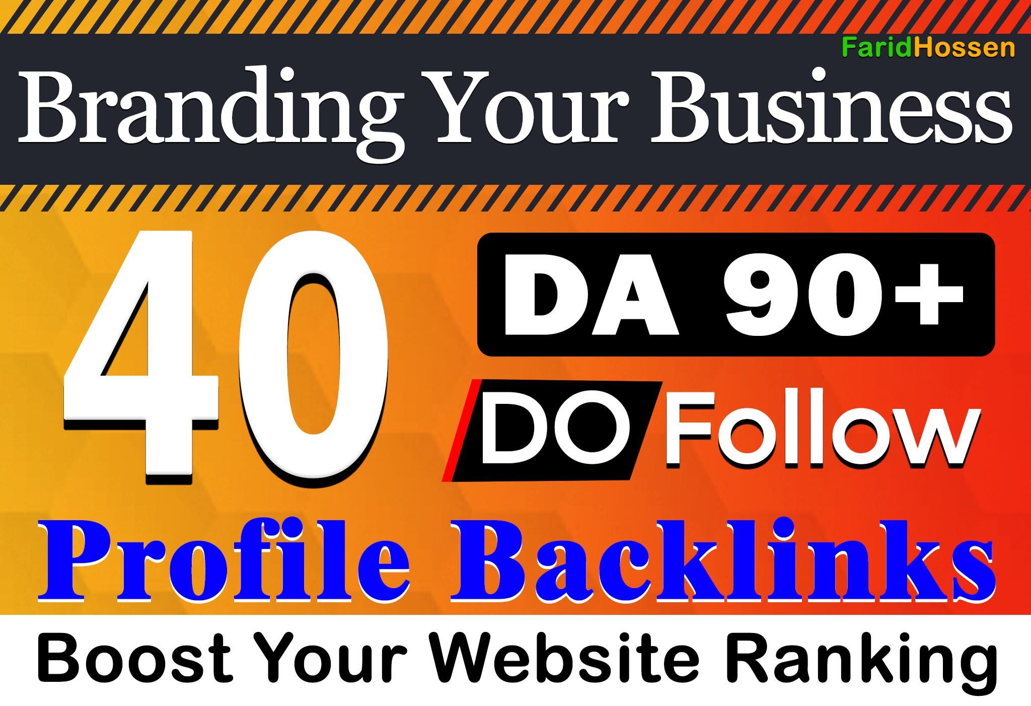 Manual DA 90+ Unique Domain 40 Do-Follow Profile Backlinks