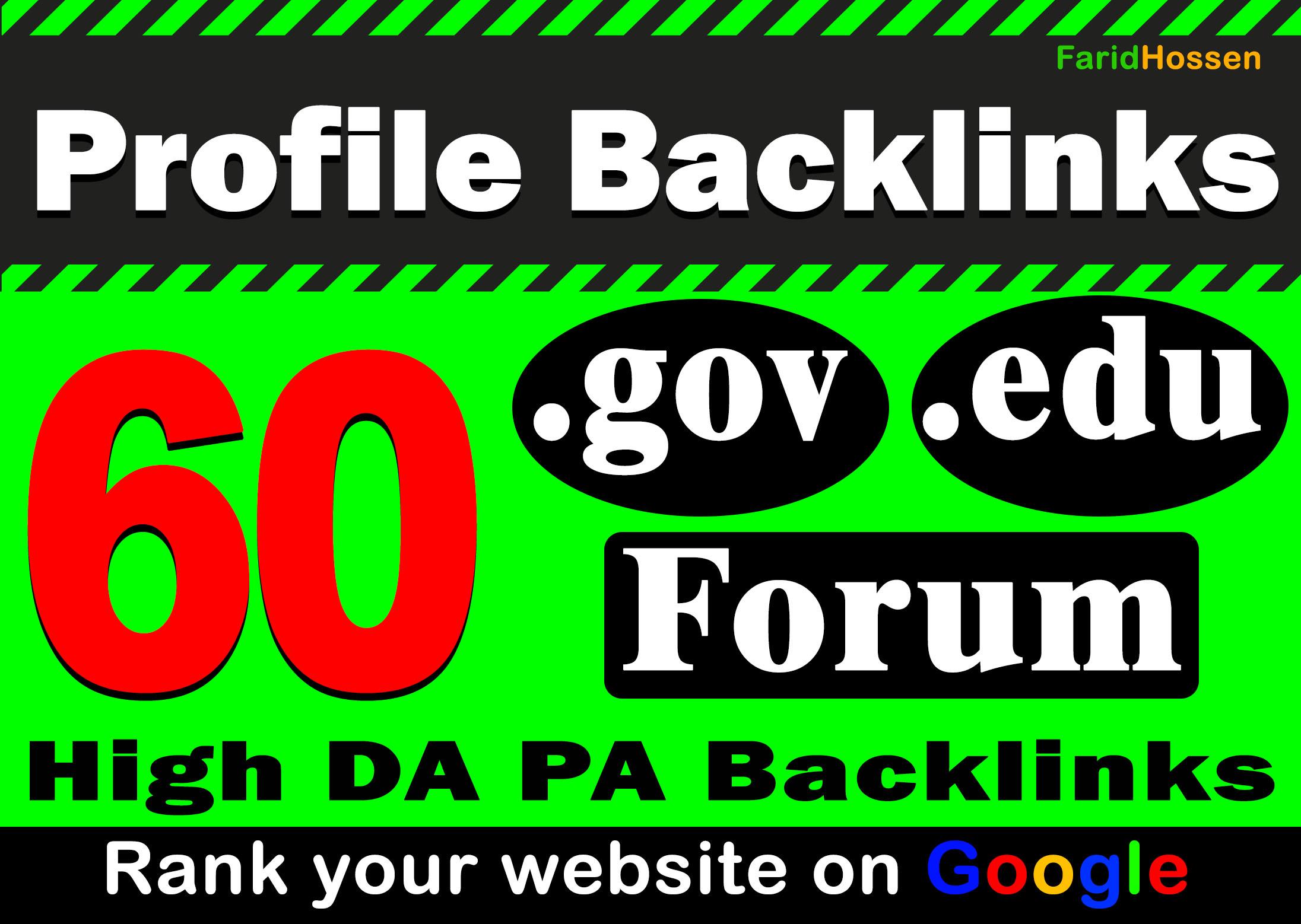 Unique 60. Edu. Gov Forum Profile Backlinks Most Effective Dofollow Backlink