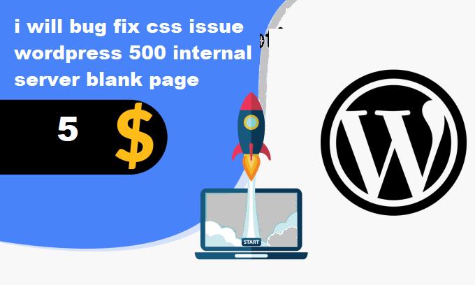 i will bug fix css issue wordpress 500 internal server blank page