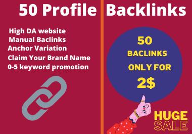 I will do 50 high domain authority SEO profile backlinks