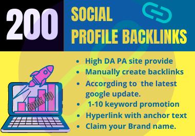 200 Unique Domain Social Profile Backlinks
