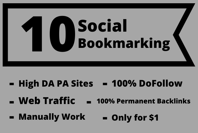 I will build 10 Social Bookmarking on high DA PA sites