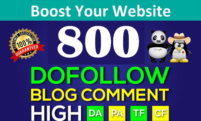 800 Dofollow Blog Comments Link building Backlinks High DA PA SEO Ranking Manual